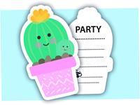Amscan uitnodingen Cactus met envelop 6 stuks