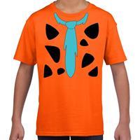 Shoppartners Fred holbewoner kostuum t-shirt oranje voor kinderen
