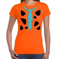 Shoppartners Fred holbewoner kostuum t-shirt oranje voor dames