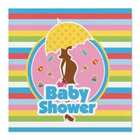 Folat 40x Babyshower feest servetten gekleurd 25 x 25 cm papier Multi
