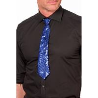 Blauwe glitter stropdas 32 cm verkleedaccessoire dames/heren Blauw