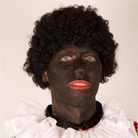 Pruik zwarte dames roetveeg piet budget Zwart