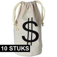 10x Geldzakken met dollar teken 16 x 23 cm Multi