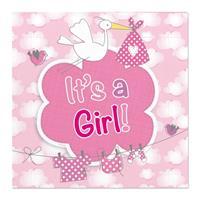 Folat 60x Geboorte meisje babyshower servetten roze 25 x 25 cm papier Multi