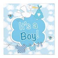 Folat 60x Geboorte jongen babyshower servetten blauw 25 x 25 cm papier Multi