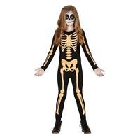 Zwart/oranje skelet verkleedpak voor kinderen