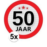 Shoppartners 5x 50 Jaar leeftijd stickers rond 9 cm verjaardag versiering Multi