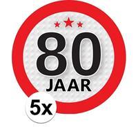 Shoppartners 5x 80 Jaar leeftijd stickers rond 9 cm verjaardag versiering Multi