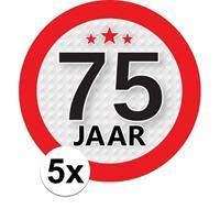Shoppartners 5x 75 Jaar leeftijd stickers rond 9 cm verjaardag versiering Multi