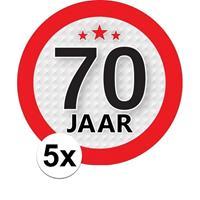 Shoppartners 5x 70 Jaar leeftijd stickers rond 9 cm verjaardag versiering Multi