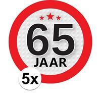 Shoppartners 5x 65 Jaar leeftijd stickers rond 9 cm verjaardag versiering Multi