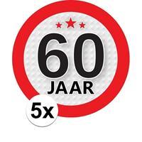Shoppartners 5x 60 Jaar leeftijd stickers rond 9 cm verjaardag versiering Multi