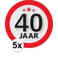 Shoppartners 5x Jaar leeftijd stickers rond 9 cm verjaardag versiering Multi