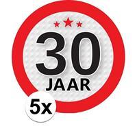 Shoppartners 5x 30 Jaar leeftijd stickers rond 9 cm verjaardag versiering Multi