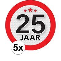 Shoppartners 5x 25 Jaar leeftijd stickers rond 9 cm verjaardag versiering Multi
