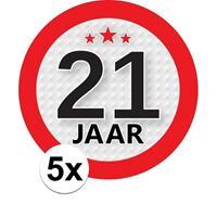 Shoppartners 5x 21 Jaar leeftijd stickers rond 9 cm verjaardag versiering Multi