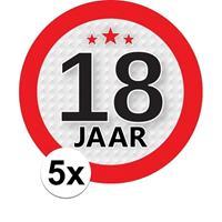 Shoppartners 5x 18 Jaar leeftijd stickers rond 9 cm verjaardag versiering Multi
