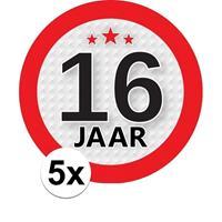 Shoppartners 5x 16 Jaar leeftijd stickers rond 9 cm verjaardag versiering Multi