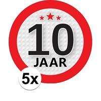 Shoppartners 5x 10 Jaar leeftijd stickers rond 9 cm verjaardag versiering Multi
