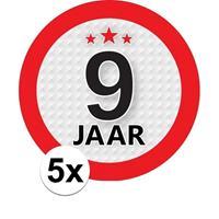 Shoppartners 5x 9 Jaar leeftijd stickers rond 9 cm verjaardag versiering Multi
