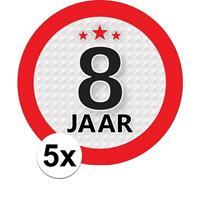 Shoppartners 5x 8 Jaar leeftijd stickers rond 9 cm verjaardag versiering Multi