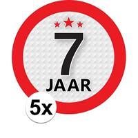 Shoppartners 5x 7 Jaar leeftijd stickers rond 9 cm verjaardag versiering Multi