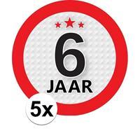 Shoppartners 5x 6 Jaar leeftijd stickers rond 9 cm verjaardag versiering Multi