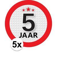Shoppartners 5x 5 Jaar leeftijd stickers rond 9 cm verjaardag versiering Multi