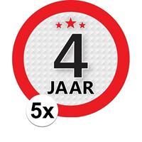 Shoppartners 5x 4 Jaar leeftijd stickers rond 9 cm verjaardag versiering Multi
