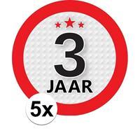 Shoppartners 5x 3 Jaar leeftijd stickers rond 9 cm verjaardag versiering Multi