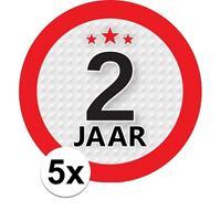 Shoppartners 5x 2 Jaar leeftijd stickers rond 9 cm verjaardag versiering Multi