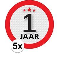Shoppartners 5x 1 Jaar leeftijd stickers rond 9 cm verjaardag versiering Multi