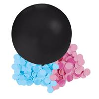 Gender reveal ballon inclusief roze en blauwe confetti 60 cm Zwart