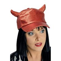 Halloween - Rode glitter pet/cap met duivel hoorntjes voor volwassenen