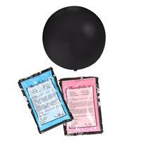 Bellatio Gender reveal ballon inclusief roze en blauw poeder 60 cm Zwart