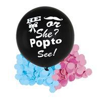 Bellatio Gender reveal ballon he or she inclusief roze en blauwe confetti Zwart
