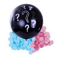 Bellatio Gender reveal ballon inclusief roze en blauwe confetti 90 cm Zwart