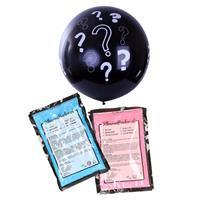 Bellatio Gender reveal ballon inclusief roze en blauw poeder 90 cm Zwart
