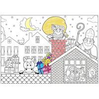 Shoppartners 18x Papieren school Sinterklaasfeest kleurplaat placemats Multi