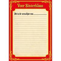 Shoppartners 6x Papieren Sinterklaas invul verlanglijstje met kleurplaat Multi