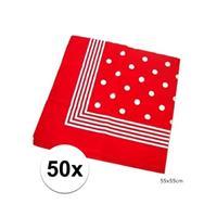 50x Rode boeren zakdoeken met stippen Rood