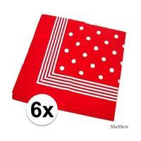 6x Rode boeren zakdoeken met stippen Rood