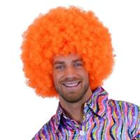 Fel oranje afro pruik Oranje