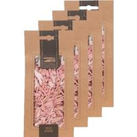 4x Zakje lichtroze houtsnippers 150 gram geboorte decoratie Roze