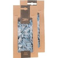 2x Zakje lichtblauwe houtsnippers 150 gram geboorte decoratie Blauw