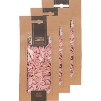 3x Zakje lichtroze houtsnippers 150 gram geboorte decoratie Roze