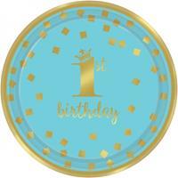 Amscan feestborden eerste verjaardag jongens 18 cm 8 stuks