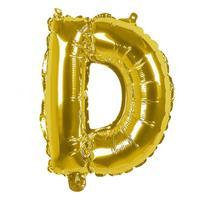 Boland folieballon letter D 36 cm goud