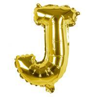 Boland folieballon letter J 36 cm goud