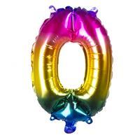 Boland folieballon cijfer 0 latex helium regenboog 36 cm